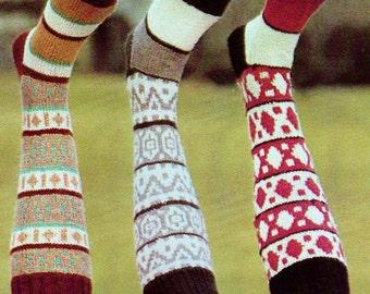 Knee Socks In Three Styles Vintage Knitting Pattern Download