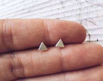 TRINITY STUDS // Silver triangle earrings // silver geo // solid sterling silver ear posts // silver triangle // minimalist geometric studs