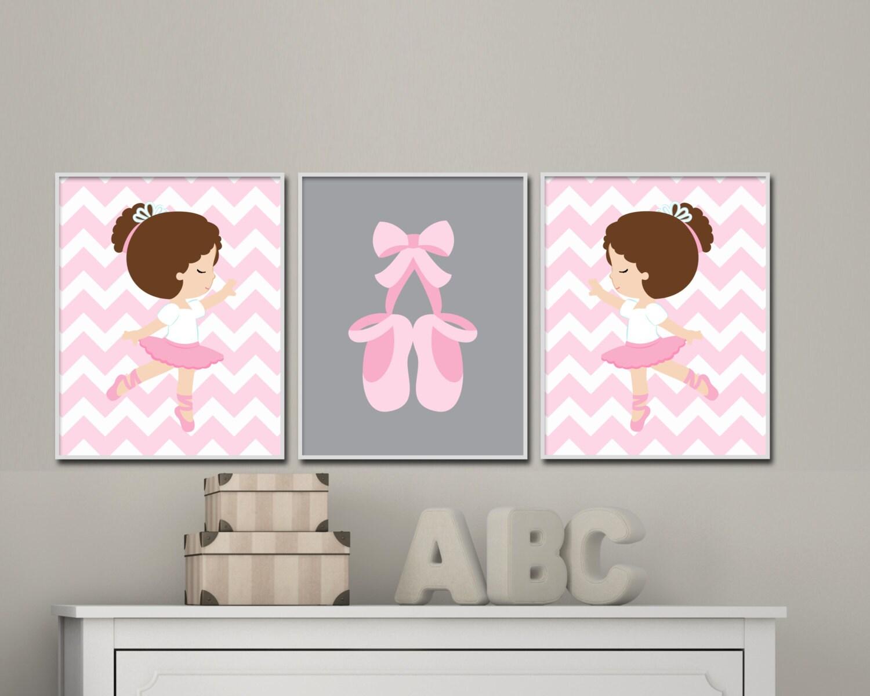 Baby girl nursery art pint set ballerina nursery art prints for Baby girl nursery paintings