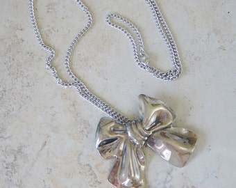 Silver Bow Pendant Necklace, Silver Chain Necklace, Bow on Chain Necklace, Silver Bow