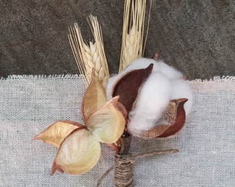 Rustic Romance Boutonnieres - Cotton Boutonniere, Wheat Boutonniere, Cotton Burr, Hemp Rope, Rustic