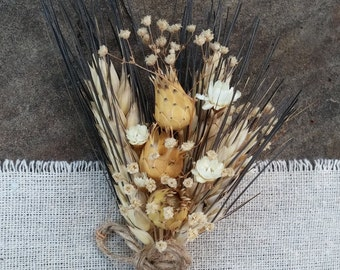 Rustic Romance Wedding Boutonnieres- Blackbeard Wheat Boutonnieres, Pods Boutonnieres, Star Flowers, Baby's Breath, Twine, Country, Rustic