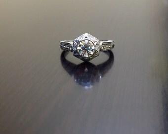 Platinum Diamond Engagement Ring - Art Deco Engraved Platinum Diamond Wedding Ring - Art Deco Ring - Platinum Ring - Diamond Ring - Bridal