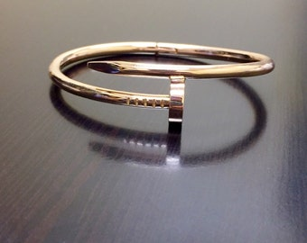 18K Rose Gold Bangle Bracelet - Rose Gold Nail Bracelet - 18K Rose Gold Nail Bangle - Handmade Bracelet - Rose Gold Jewelry - Fine Jewelry