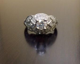 Platinum Diamond Engagement Ring - Art Deco Platinum Diamond Wedding Ring - Diamond Platinum Ring - Art Deco Hand Engraved Platinum Ring