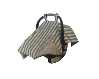 Gray and White Stripe Infant Car Seat cover/ Car seat tent/ Car seat canopy/ Gender Nuetral Car Seat Cover