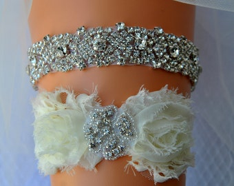 Crystal Bridal Garter Set Wedding Ivory White Shabby Chic Rhinestone Garter, Crystal Rhinestone Garter and Toss Garter Set