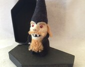 Gnomepyre™ - 100% Wool Vampire Gnome in Black Coffin Gift Box - Original OOAK 3D Needle Felted Sculpture for Halloween (FREE U.S. Shipping)