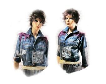 Altered couture jacket, Boho jacket, embellished jacket, Mori girl clothing, ladies jacket, OOAK clothing, Size M (8-/10 )   # 92