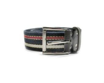 red white blue belt, nautical stripe belt, Women's woven belt, marked XL belt, waist 35 to 39 # 47