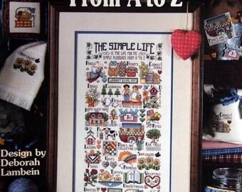 Simple Pleasures From A To Z By Deborah Lambein Cross Stitch Pattern Leaflet 1997