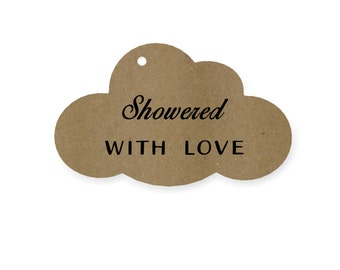 Bridal shower tag - Showered with love - Baby shower tag - Favor tag - Dessert topper - Shower favor - Gift tag