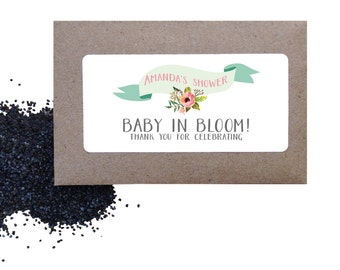 Baby shower seed favors - floral wild poppy seed baby shower favors, flower seed favors
