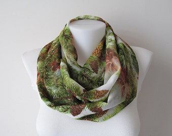 Pine Tree Pattern Chiffon Infinity Scarf, Circle Scarf, Women Loop Scarf, Fall Winter Spring Summer Fashion, Gift for Her