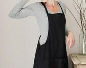 Black linen dress, Apron dress, Autumn/Winter wear, Maternity wear, Eco friendly