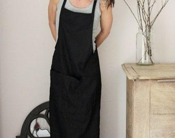 Black linen dress, Spring / Summer wear, XS-S size, Maternity wear, Eco friendly