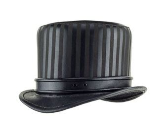 "Leather Circus Steampunk Top Hat ""Baron"" Black - Steampunk Hat - Circus Top Hat - Steampunk Tophat - Stovepipe Hat - Rolled Edge Band"