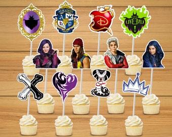 Disney Descendants party cupcake toppers set of 24