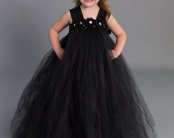 Flower girl dress - tutu dress - tulle dress - empire dress - Infant/Toddler - Pageant dress - wedding - Princess dress -Black flower dress