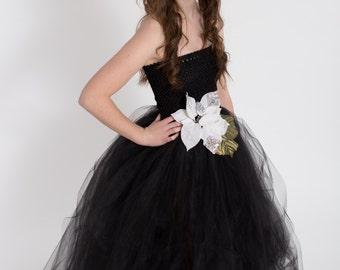 Junior Bridesmaid dress-tutu dress-tulle dress- Bridesmaid dress-Pageant dress-wedding-Princess dress -Black dress- Prom-New Years Eve dress