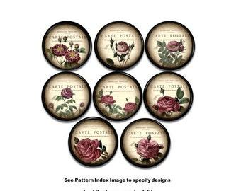 Chic French Grungy Rose Drawer Pull - Floral, Vintage Design, Cream, Black, Victorian, Shabby - Furniture, Dresser Knob, Cabinet - 815J37