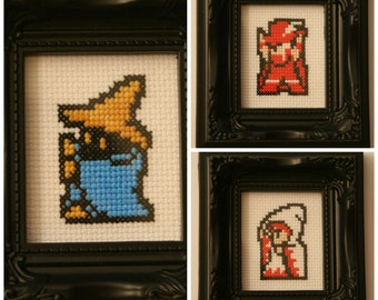 Final Fantasy framed cross stitch magnes