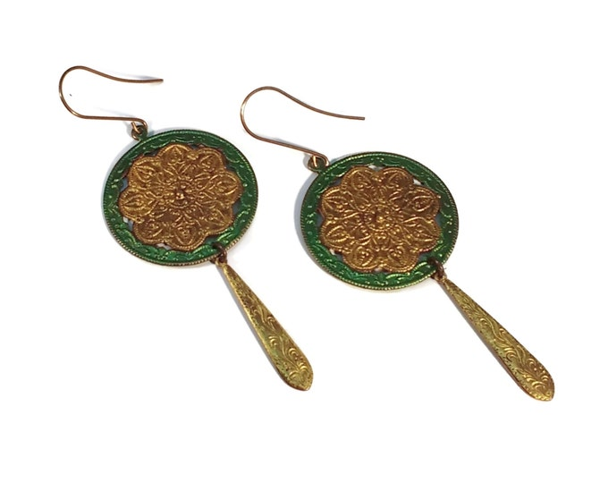 Viola Scrollwork Green & Gold Brass Shoulder Duster Earrings Nickle and Lead Free Ear Wires Hypo Allergenic Dangle Drop