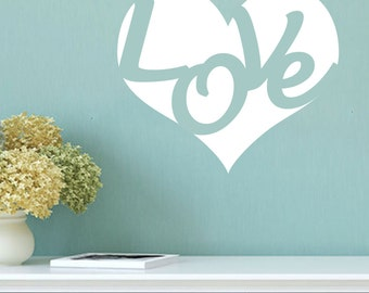 Love with Heart Wall Decal 22x19