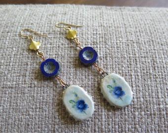 blue rose earrings, flower earrings, unique earrings, feminine earrings, floral earrings, blue flower earrings, romantic earrings, delicate