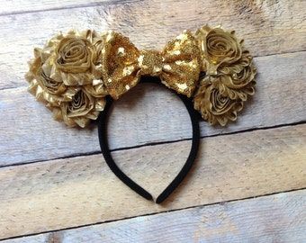 Mouse Ears- Gold Mouse Supreme Headband-Vacation,Spring Break,Party Ears,Summer,Photo prop,Halloween,Costume