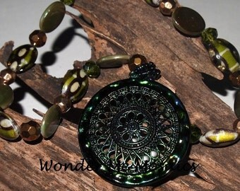 15% SALE  Large Green / Blue Filigree Pendant Necklace - Alcohol Ink