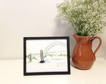 Art Print // Yaquina Bay Bridge // Limited Edition Watercolor // Newport Oregon // Bridge