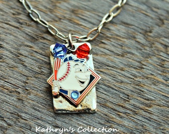 Mets Necklace, Mr. Met, NY Mets Jewelry, Mets Fan