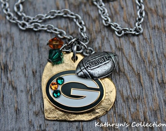 Green Bay Packers Necklace, Packer Necklace, Packers Jewelry, Packers Fan Gift