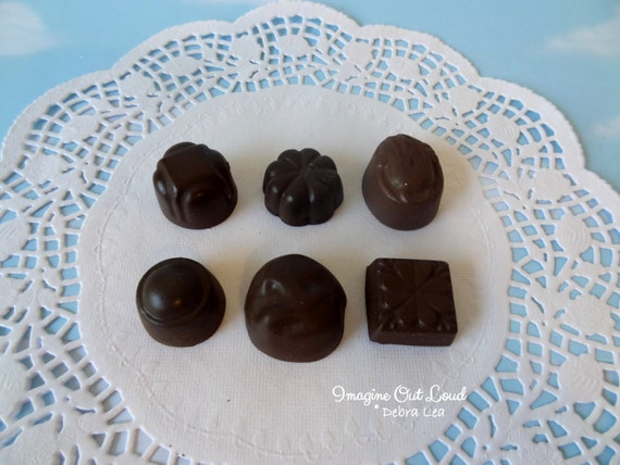 Fake Candy DARK Chocolate Bon Bons Truffles Set of Six Halloween Valentine's Display Food Prop Decor