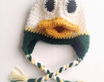 PATTERN** Crochet Duck Hat Pattern, All Sizes, Newborn to Adult, Oregon Ducks