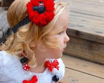 Minnie Mouse Headband, Red and black headband, Baby Headband, Toddler Headband, Hair Bows, shabby chic