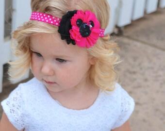 Minnie Mouse Headband, Hot pink and black headband, Baby Headband, Toddler Headband, Hair Bows, shabby chic