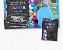 Frozen Birthday Invitation, Frozen Birthday Party, Frozen Invitation, Frozen Birthday Invitation, Disney Invitation, Chalkboard, Frozen