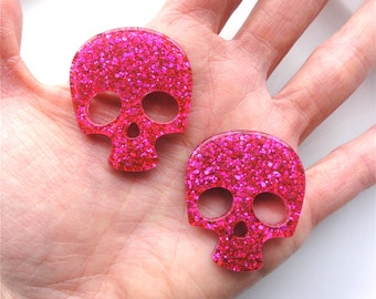 4 pcs - Fuchsia Glitter Skull Resin Flatback Cabochon - 36mm - Kawaii - Kitsch - Decoden - Punk