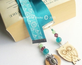 Owl & dandelion embroidery ribbon bookmark