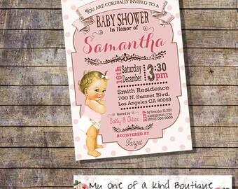 Baby Shower invitation shower party invite dots pink baby vintage digital printable invitation 13117