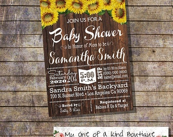 Country chic baby shower invitation rustic wood sunflowers baby shower invite digital printable invitation you print 13724