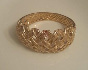 Castlecliff clamper bracelet goldtone with basketweave, rare
