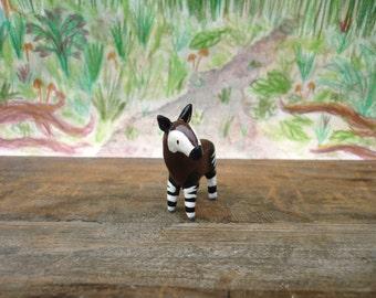 Miniature okapi figurine ∙ Cute handmade animal ornament ∙ Made to order