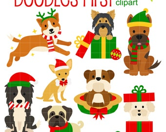 Christmas Doggies 2 Digital Clip Art for Scrapbooking Card Making Cupcake Toppers Paper Crafts