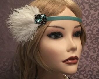 1920's Green Velvet Flapper Headband Ostrich Feather Headpiece 20s Inspired Gatsby Art Deco Headdress Head Band 1920s Elastic Stretch (658)