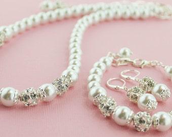 Bridesmaid Jewelry Set Pearl Jewelry Set Pearl Bridal Set Bridal Necklace Wedding Jewelry Wedding Necklace Pearl Earrings Pearl Necklace