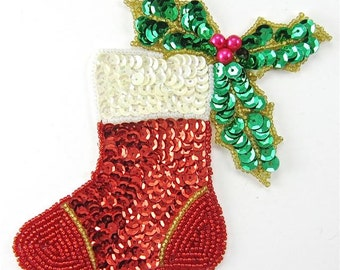 Christmas Stocking With Holly - 2860-0223