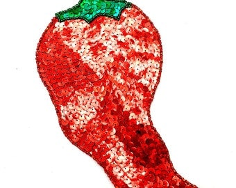 "Chili Pepper, Sequin Beaded, 9"" x 7""  -B284-0445"